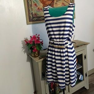 Charlotte Russe Dresses - Charlotte russe blue&white striped dress NWT